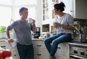 Couple Chatting Indoor